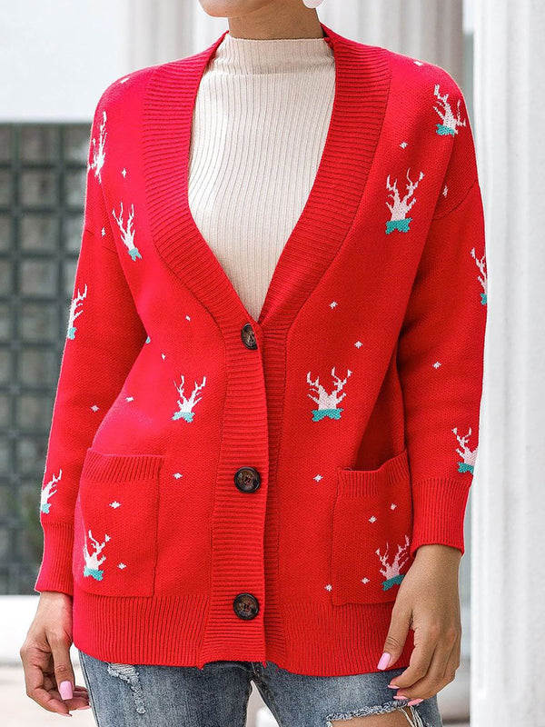 Happy Christmas Button Down Cardigan Knitted Ugly Sweater Cardigan