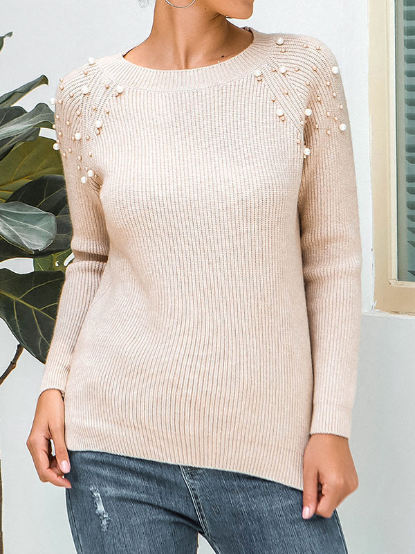 Pearl Knitted Long Sleeve Sweater