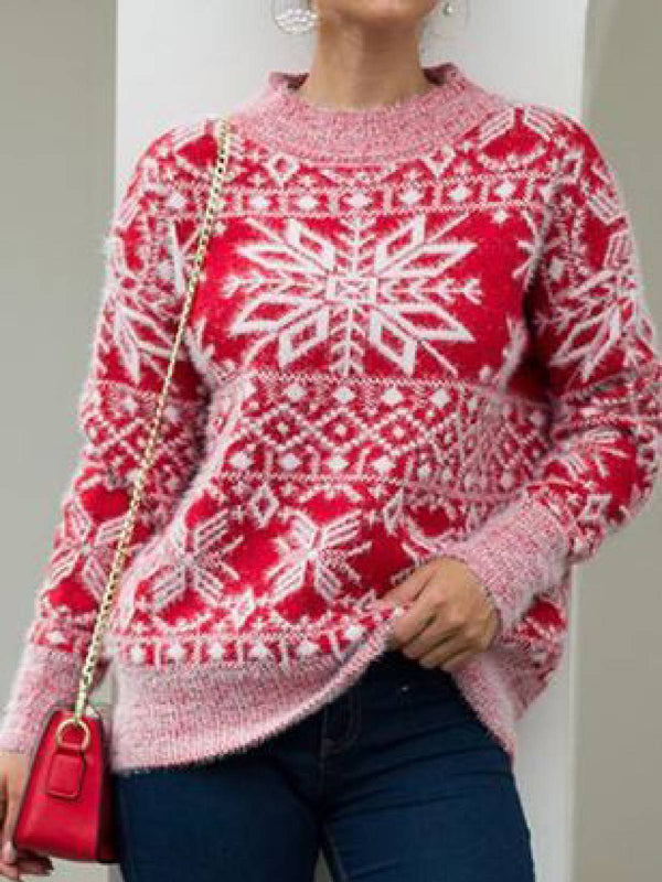 Red Long Sleeve Knitted Round Neck Shirts & Tops