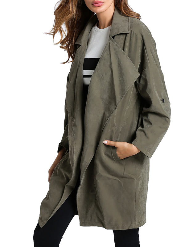 Casual Pockets Shawl Collar Long Sleeve Trench Coat