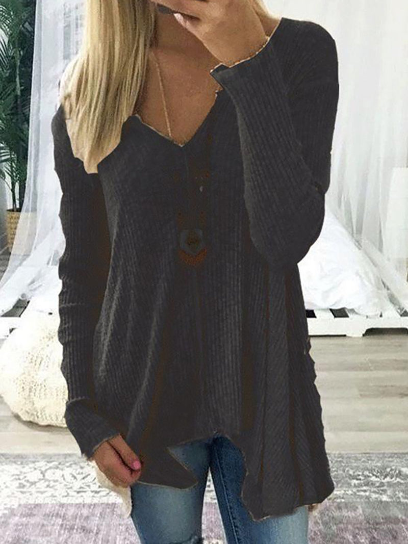 V neck Cotton Solid Casual Long Sleeve Sweater