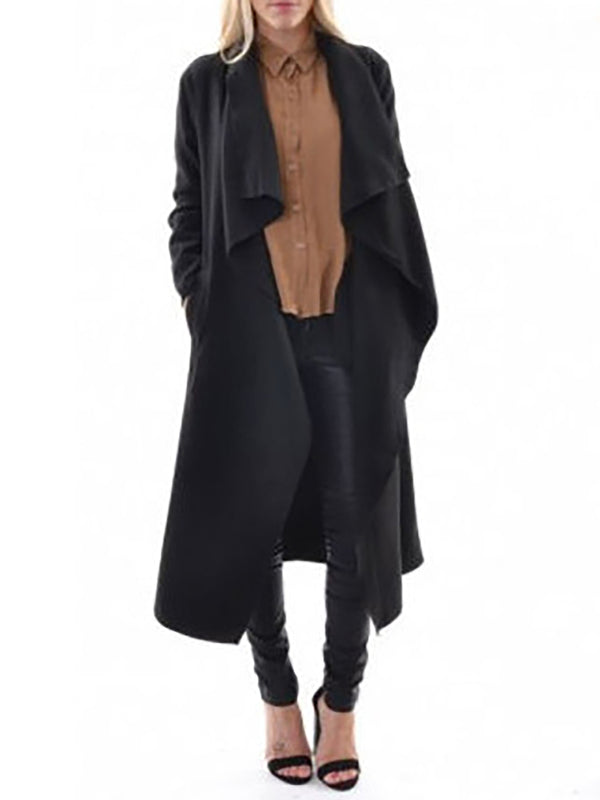 Long Sleeve Shawl Collar Casual Solid Trench Coat