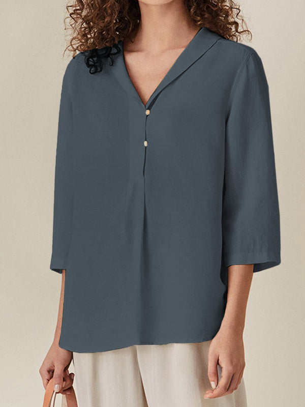 3/4 Sleeve Solid Cotton Shirts & Tops