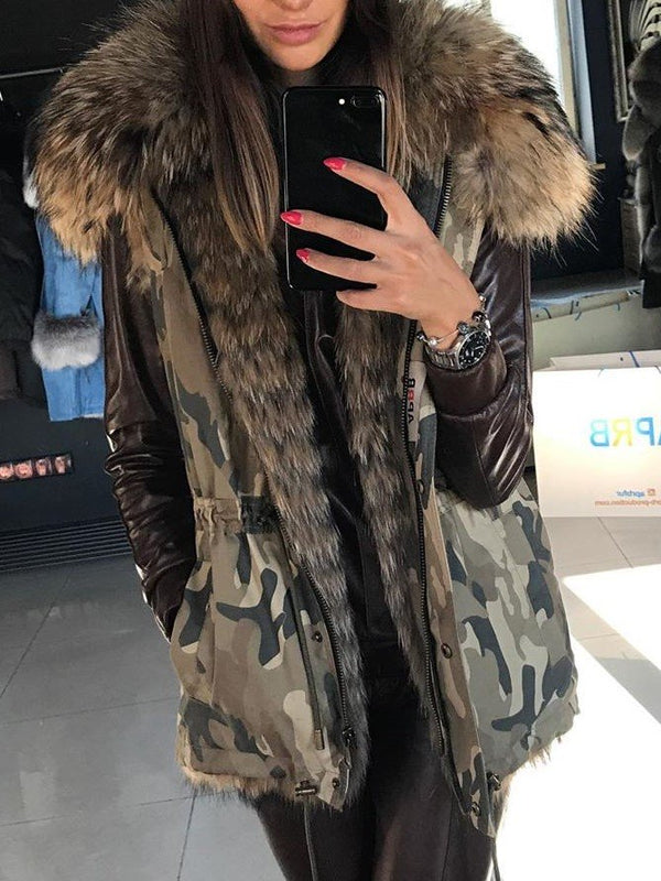 Winter Faux Fur Hooded Camouflage Vest