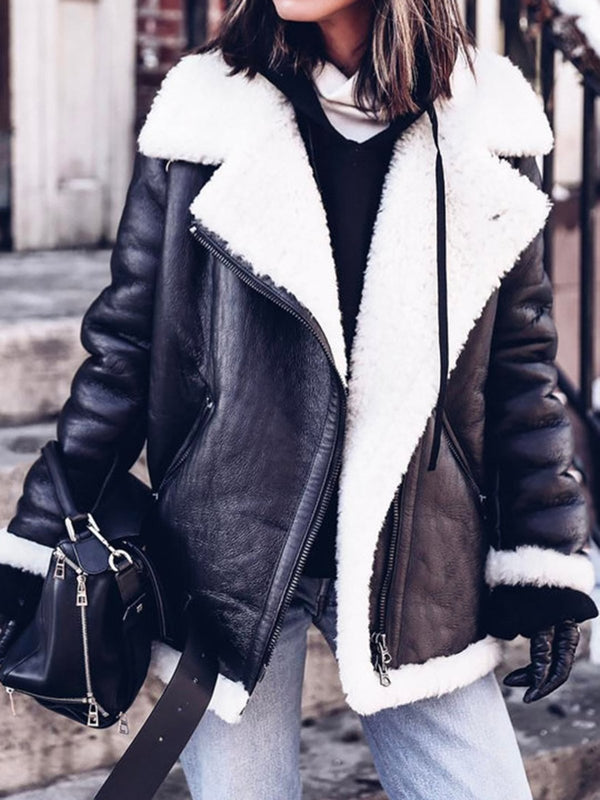 Furry Buckle Lapel Collar Faux Fur Jacket Plus Size Warm Coat Outerwear
