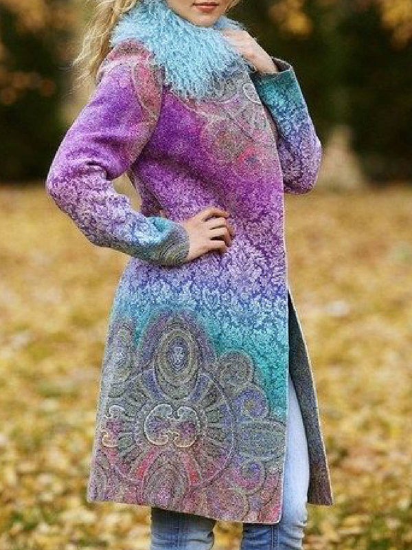 Faux Fur Tribal Long Sleeve Outerwear