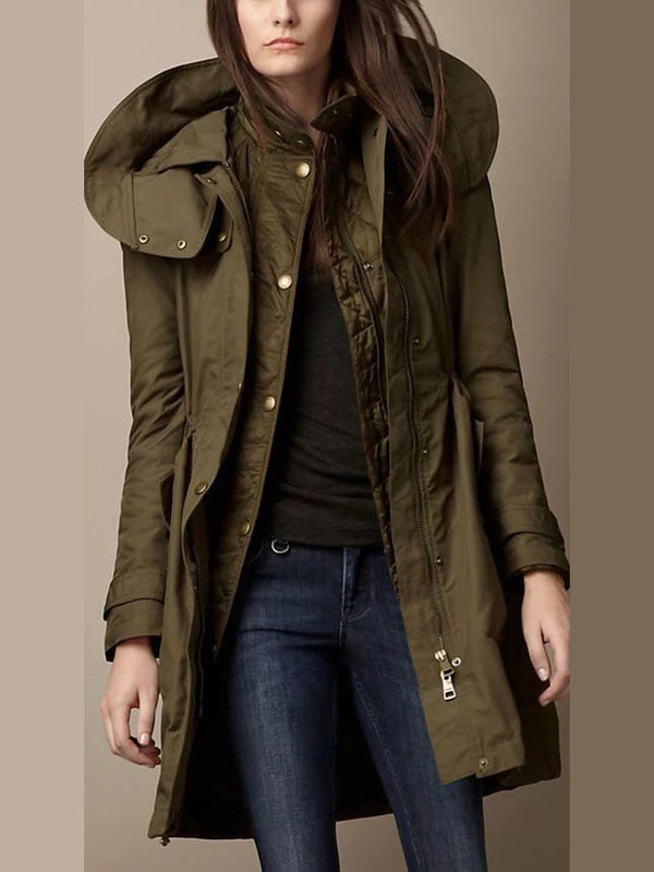 Olive Green Long Sleeve Paneled Plain Casual Outerwear