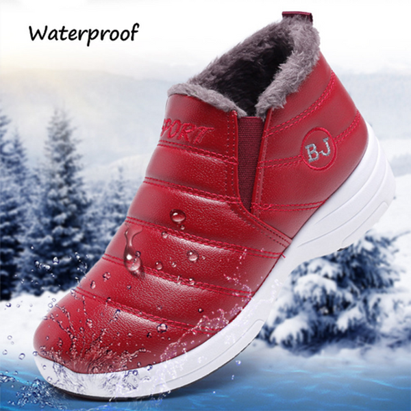 Waterproof Warm Lining Winter Snow Ankle Casual Women Boots With Fur