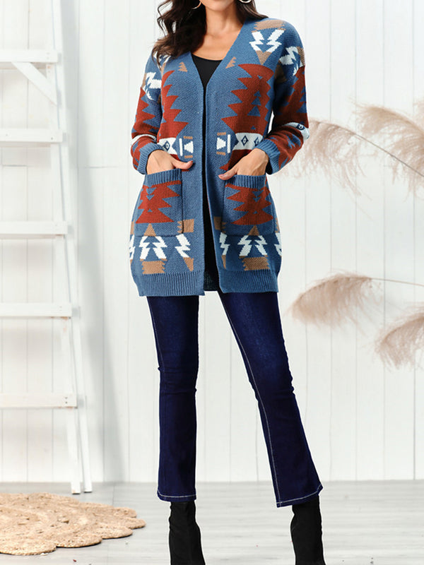 Casual Long Sleeve Pockets Geometric Outerwear
