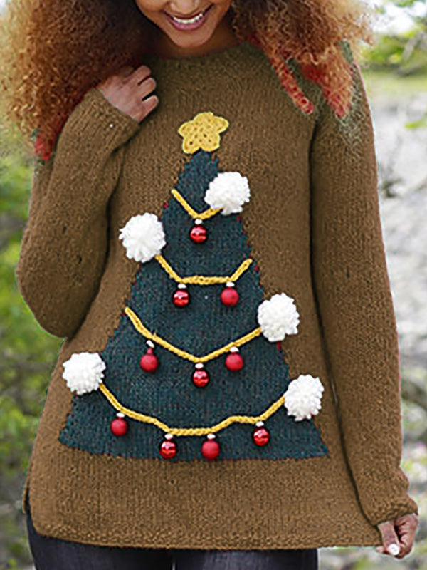 Christmas Crew Neck Knitted Shift Sweater