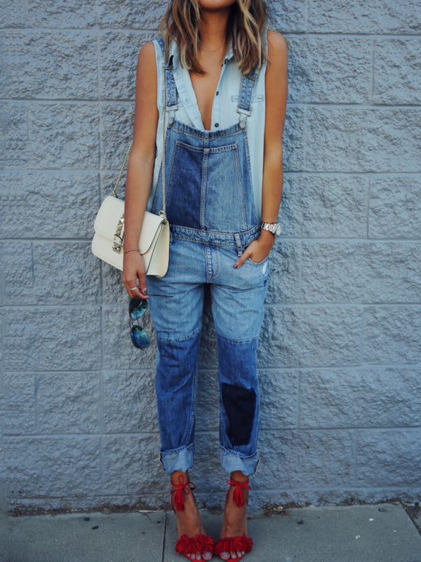 Casual Denim Jumpsuit Pantsuit Overalls