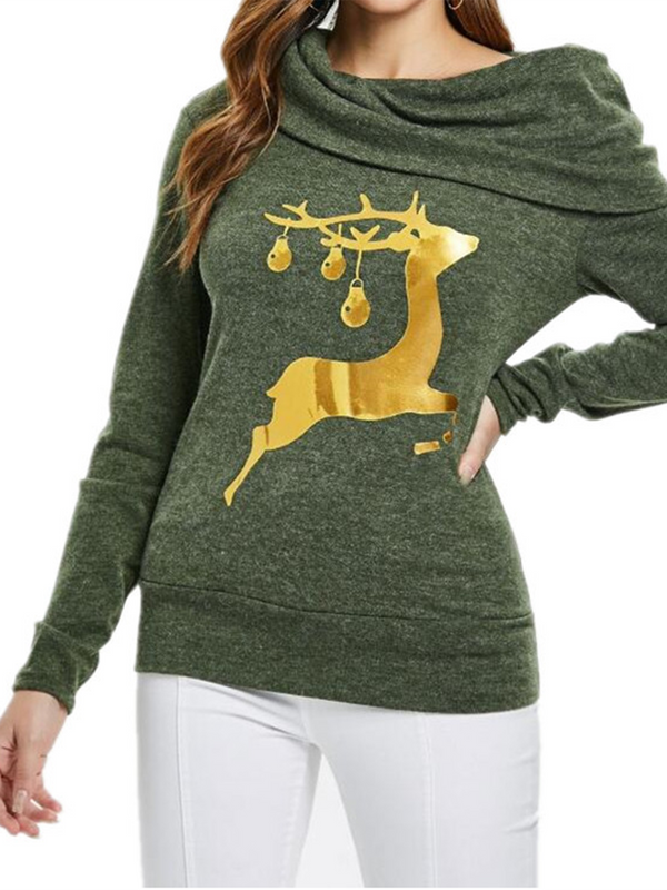 Long Sleeve Christmas Deer Print Cowl Neck Sweater