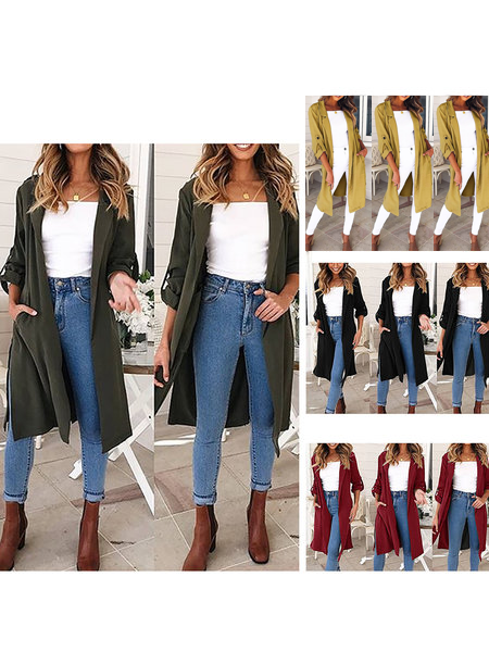 Casual Cotton Slit Solid Winter Pockets Trench Coat