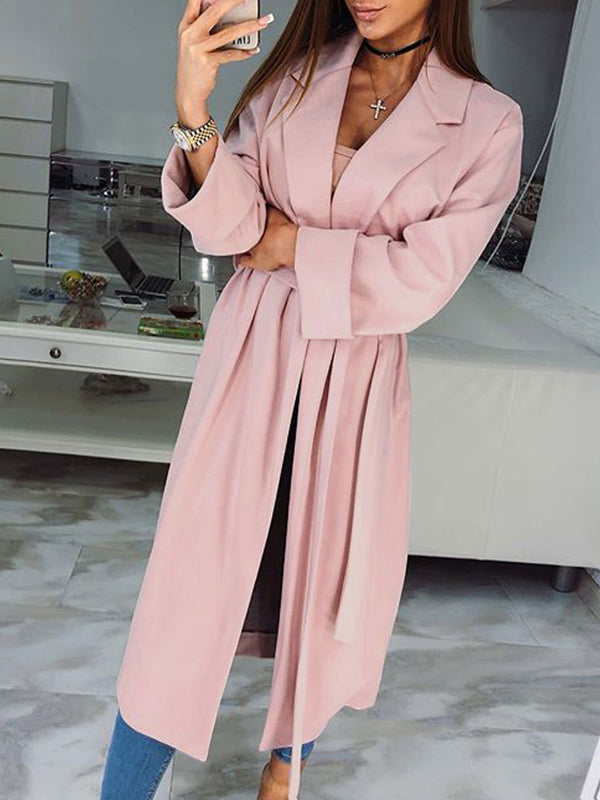 Pink Solid Lapel Lace up Winter Lycra Trench Coat for Women