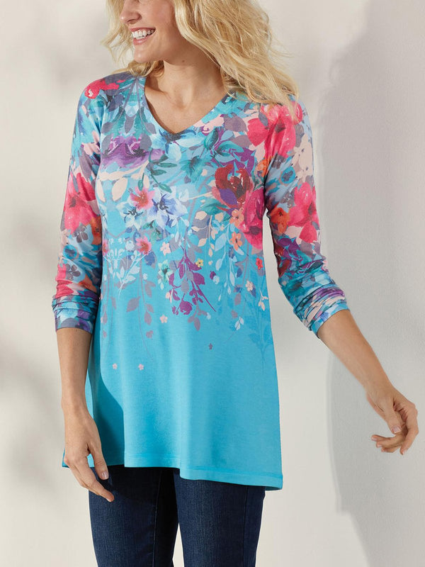 V Neck Casual Printed Blouse
