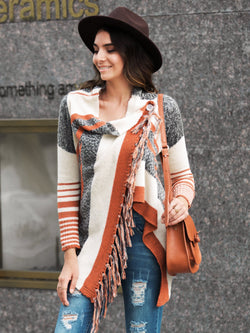 Striped Fringed Outerwear
