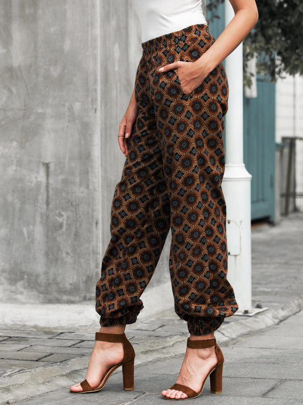 Floral-Print Tribal Casual Pants