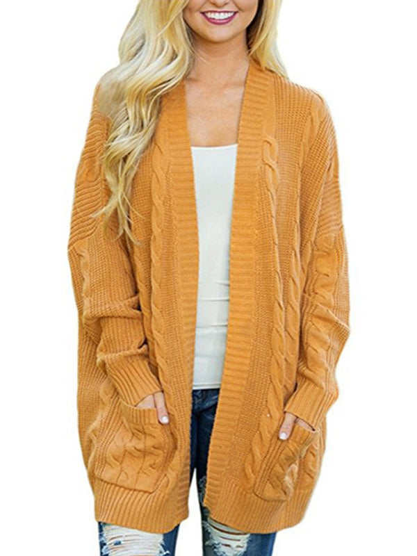Wool blend Casual Knitted Winter Plus Size Cardigan