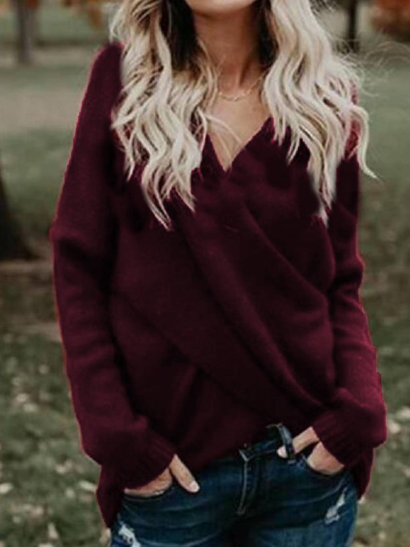 Wine Red V Neck Knitted Long Sleeve Sweater