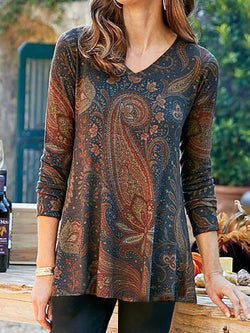 Women Long Sleeve Vintage Printed Round Neck Tops