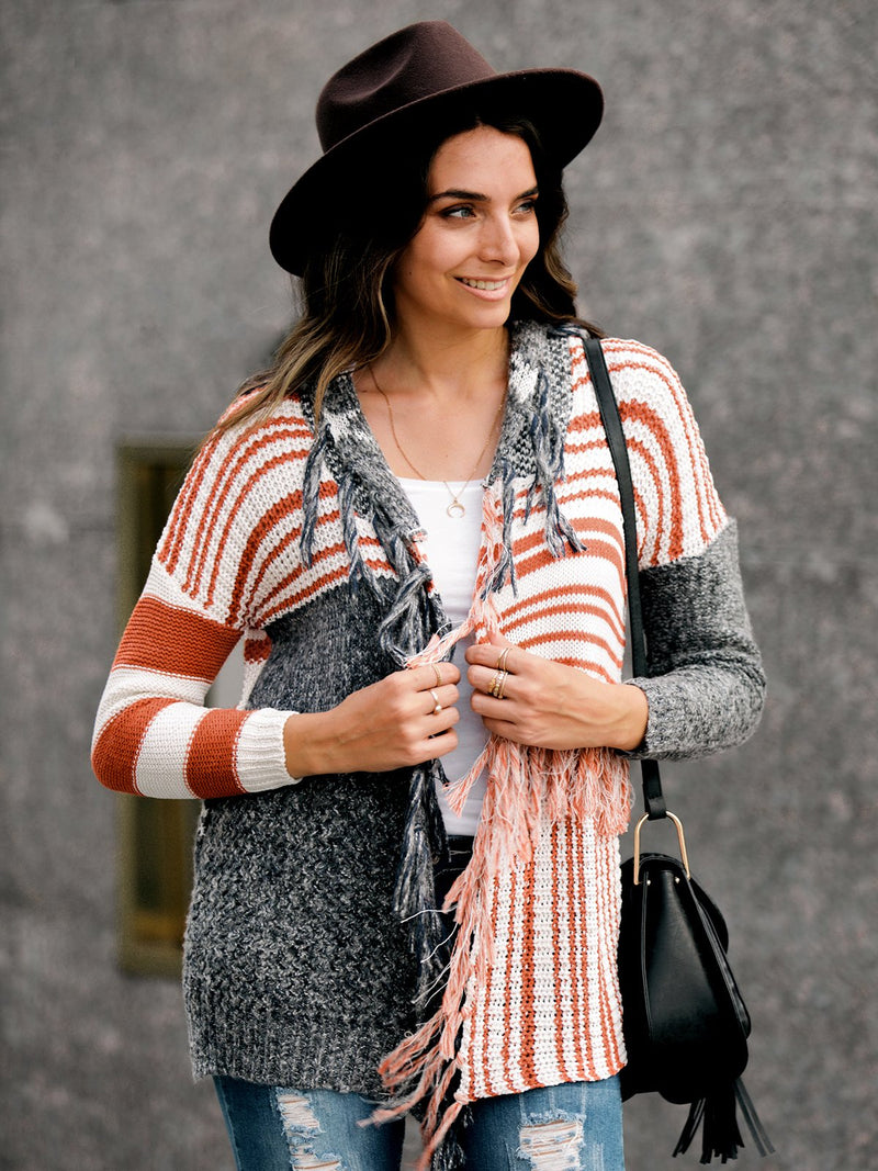 Striped Long Sleeve Outerwear