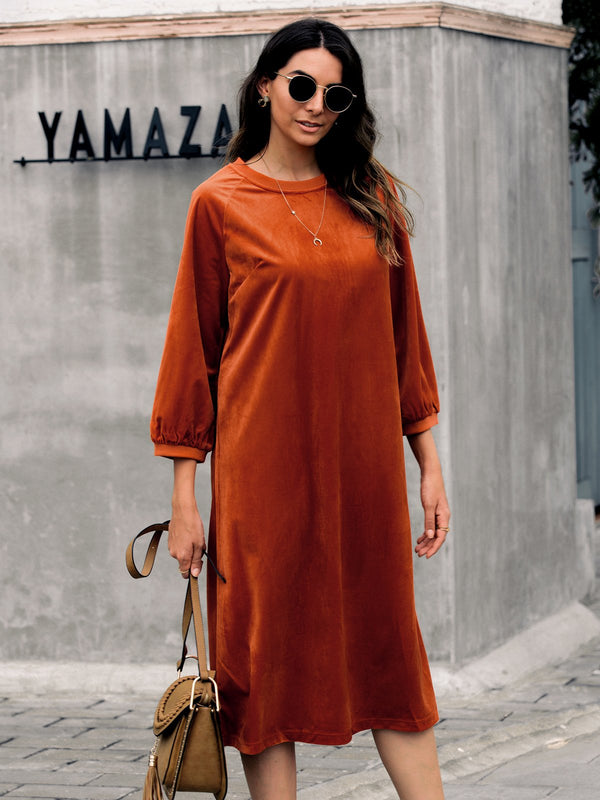Half Sleeve Shift Crew Neck Solid Dresses