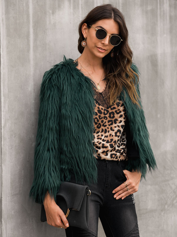 Vintage Crew Neck Fringed Outerwear