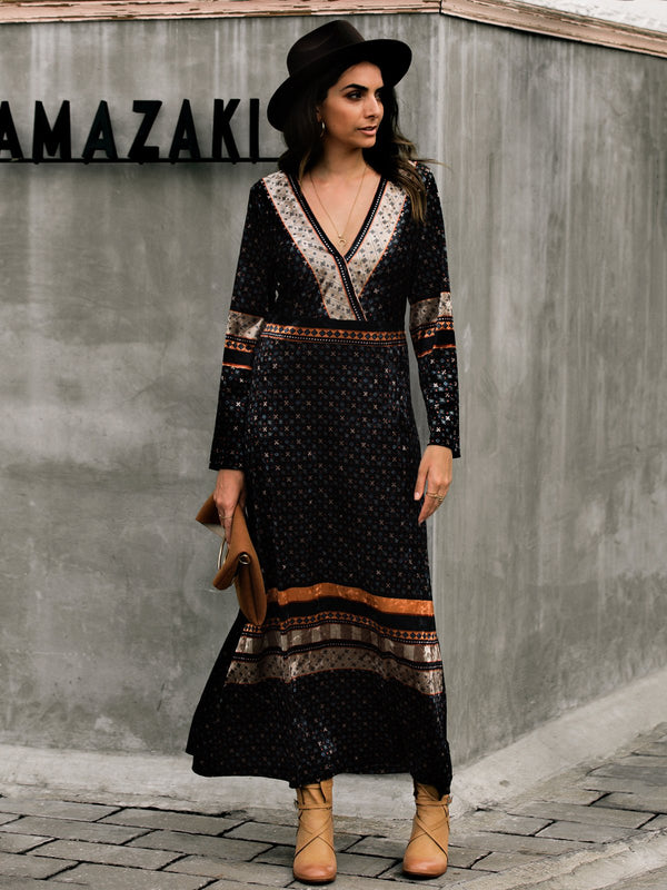 Long Sleeve V Neck Tribal Dresses