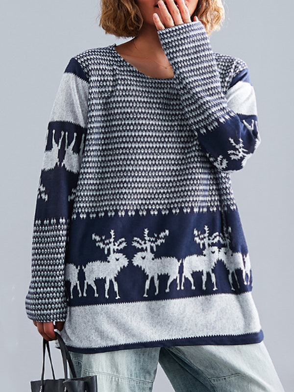 Fawn Printed Long Sleeve Plus Size Casual Tops