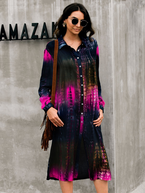 Long Sleeve Ombre/tie-Dye Buttoned Dresses