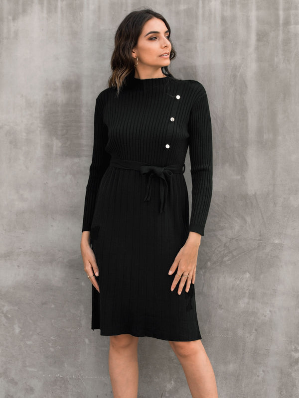 Plain Stand Collar Knitted Work Dresses With Belt