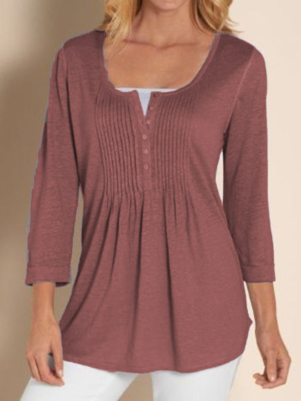 Casual Gathered Long Sleeve Shirts & Tops