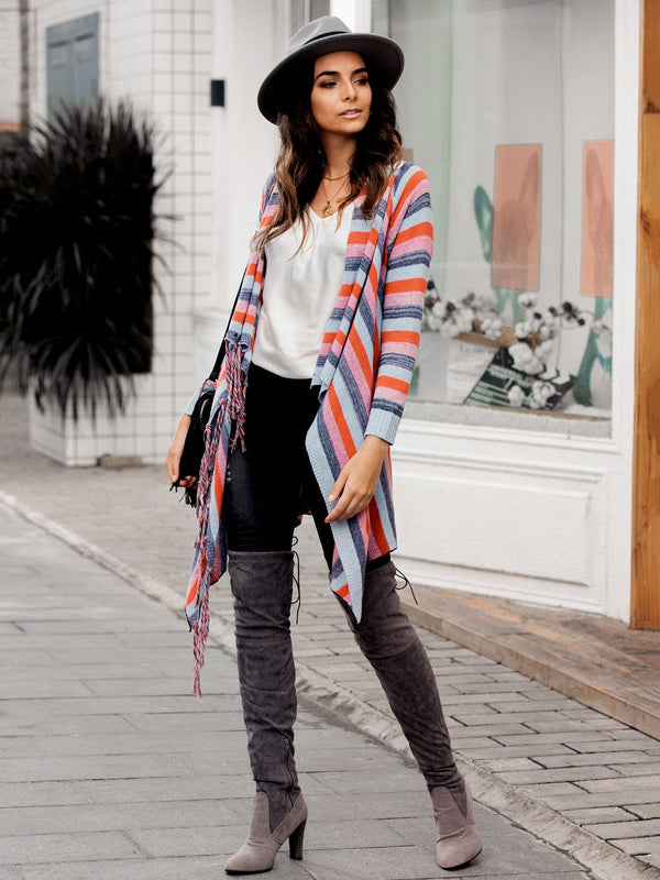 Women Long Sleeve Fringed Striped Cardigans