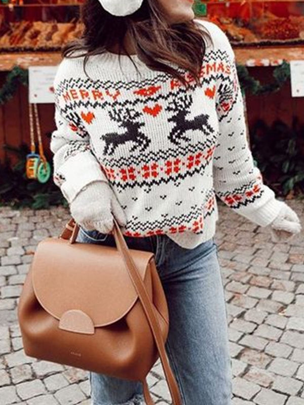 Long Sleeve Cotton-Blend Shift Crew Neck Sweater