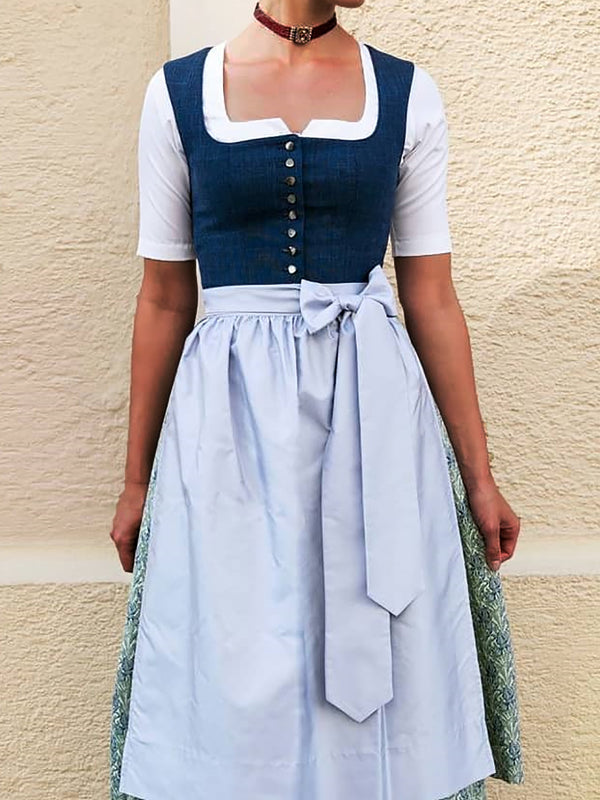 Vintage Women Dirndl Tribal Dresses Cosplay Oktoberfest Costume