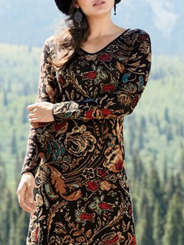 Printed Tribal Long Sleeve Dresses