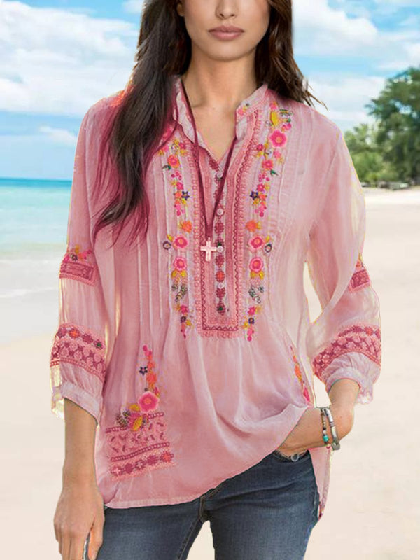 V Neck Elegant Floral Shirts & Tops