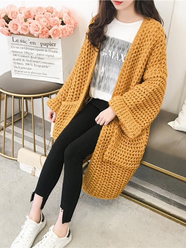 Solid Casual Wool blend Pockets Winter Cardigan