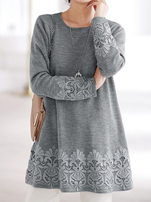 Long Sleeve Floral-Embroidered Casual Cotton Tops