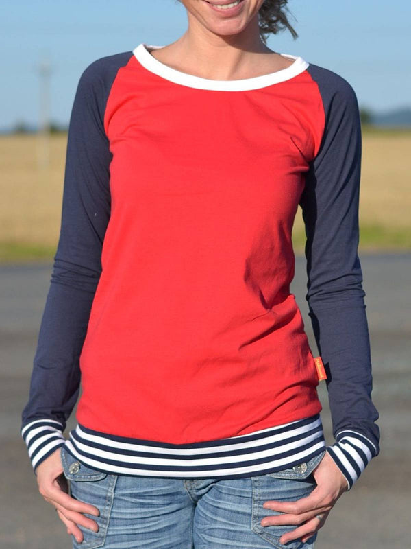 Red Casual Striped Printed Crew Neck Plus Size Shirts