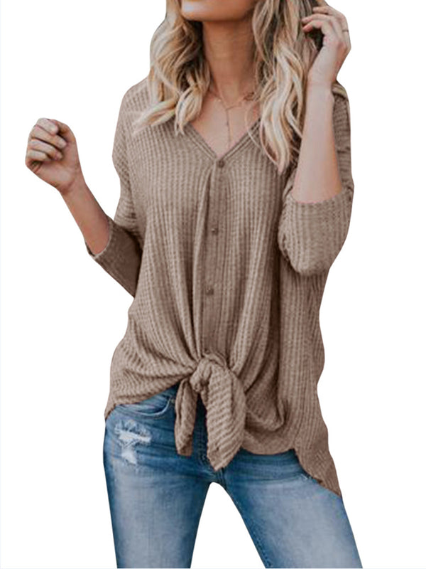 Long Sleeve Casual Buttoned Knitted V neck Cardigan