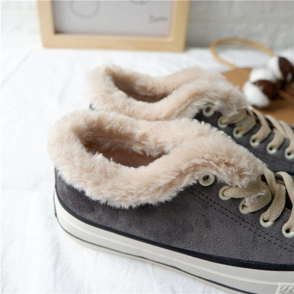Women Platform Warm Canvas Sneakers Lace-up Suede Winter Shoes