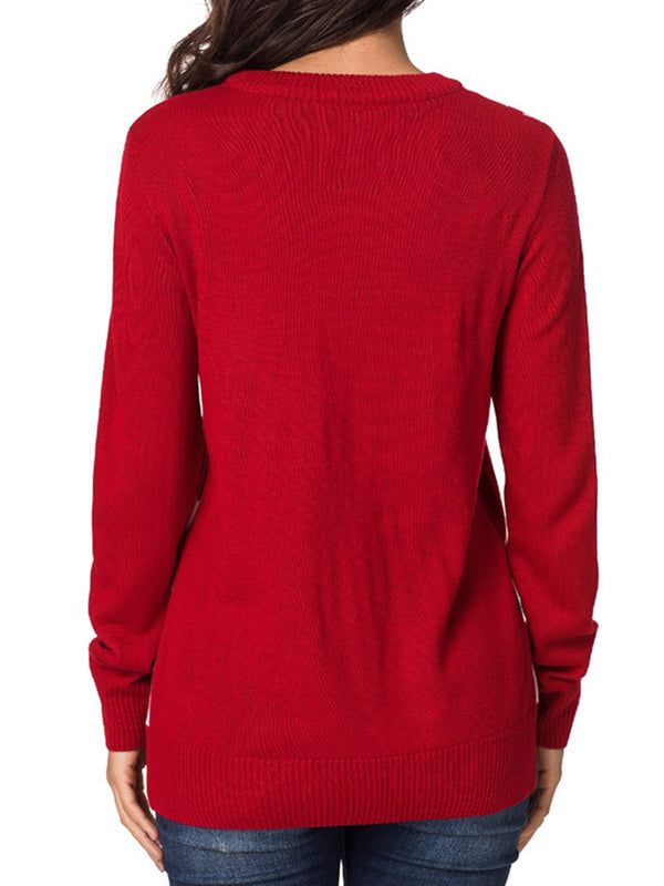 Crew Neck Knitted Long Sleeve Shift Sweater