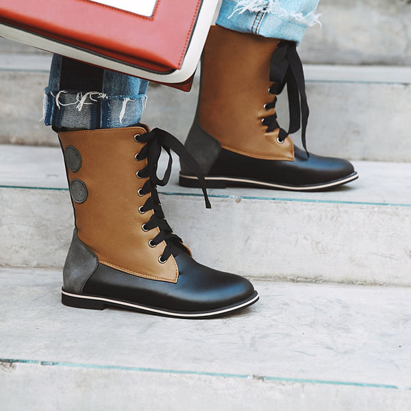 Lace-Up Hiking Artificial Leather Winter Boots