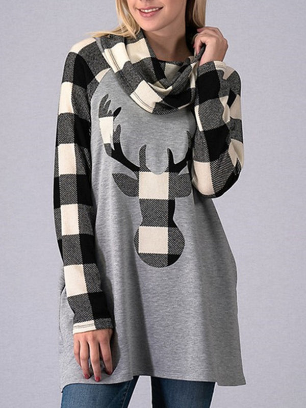 Christmas Cowl Neck Vintage Paneled Long Sleeve Sweatshirts