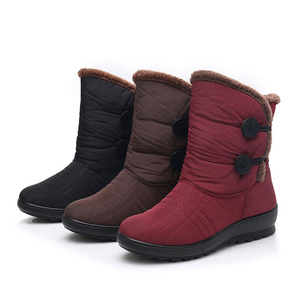 Women Snow Mid Calf Booties Casual Button Comfort Warm Shoes