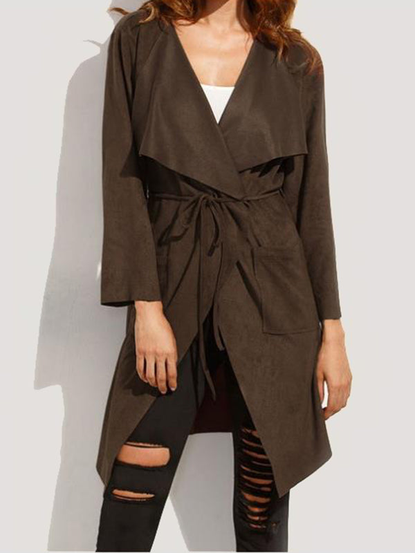 Long Sleeve Lapel Plain Cotton-blend Casual Trench Coat for Women