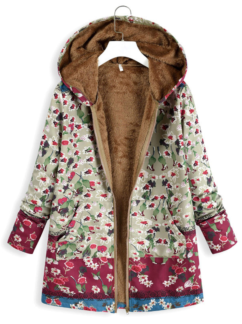 Stylish Floral Women's  Pockets Winter Plus Size Coat With Hoodie