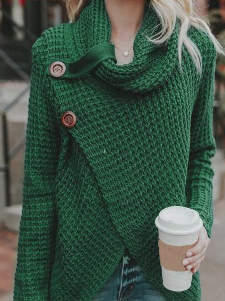 Asymmetrical Slit Cowl Neck Knitted Sweater
