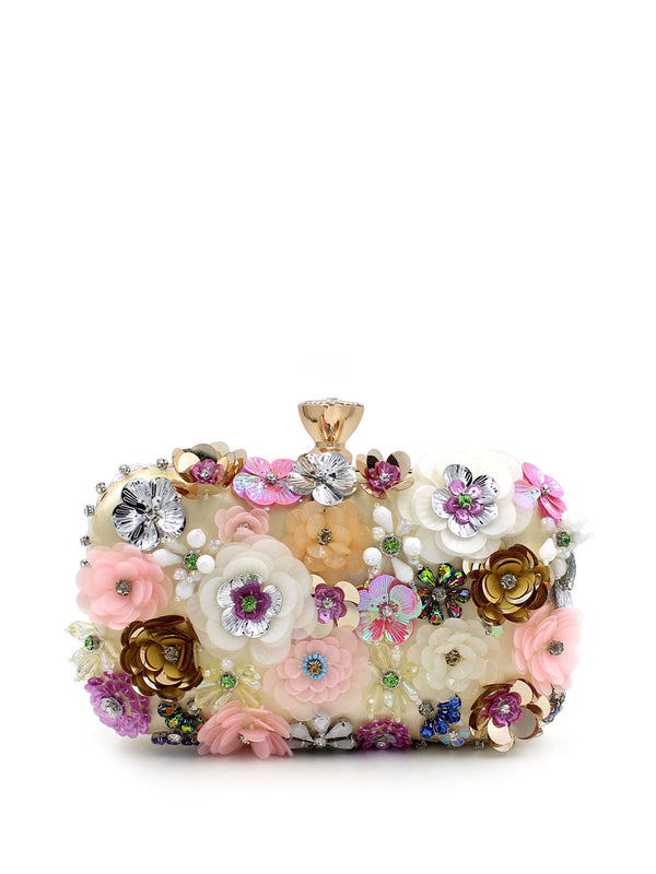Multicolor Metallic Trimmed Flowers Evening Clasp Lock Clutch